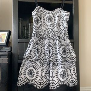 Express Black and White Patterned layered dress